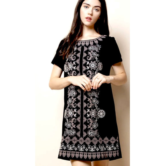 Eliza THML Black Embroidered Dress