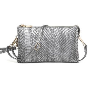 Ella Python Pewter 3 Compartment Wristlet Crossbody