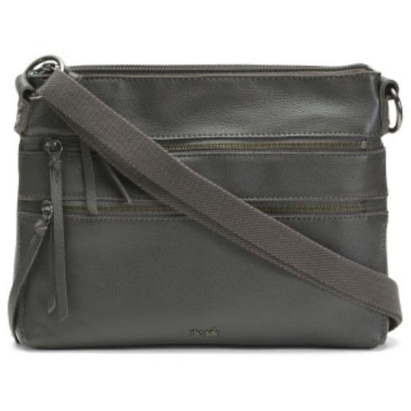 Reseda Leather Grey Crossbody Handbag by The Sak
