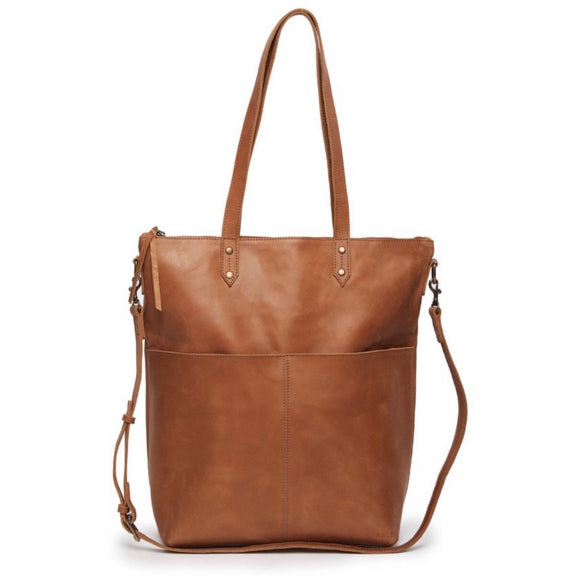 Cameron Med Brown Pocket Tote Handbag
