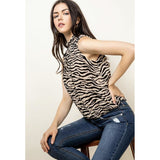 Abello THML Sleeveless Zebra Print Top-Fig Tree Jewelry & Accessories