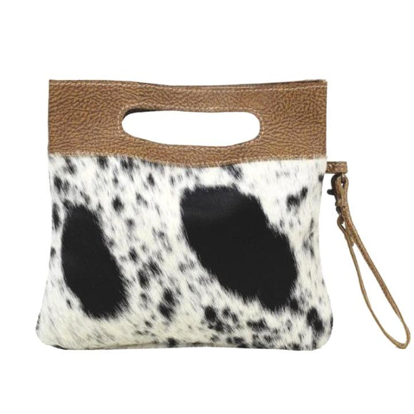 Brio Cowhide Wristlet Handle Handbag