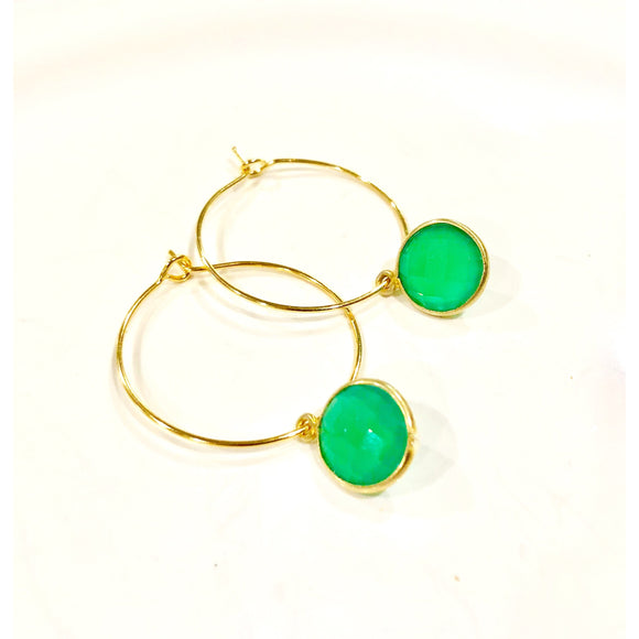 Amie Emerald Quartz Hoop Earrings