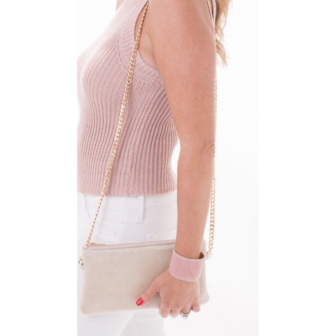 Brio P Cream Cowhide Crossbody Clutch