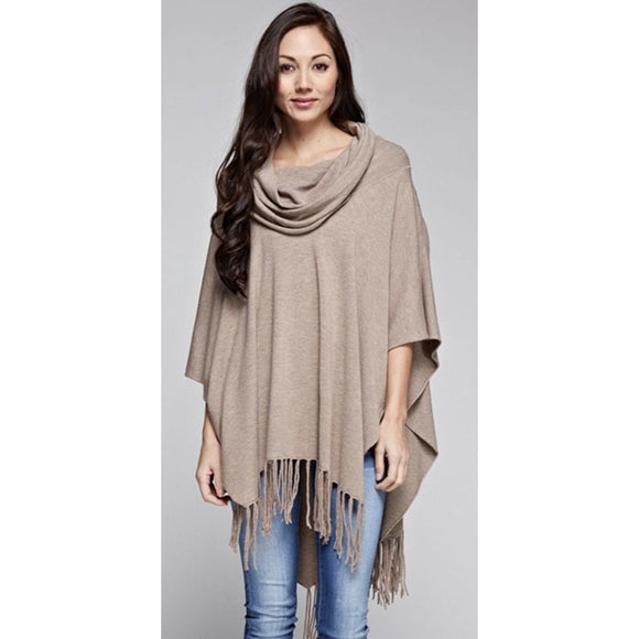 Emeila Heather Brown Fringe Poncho Lovestitch