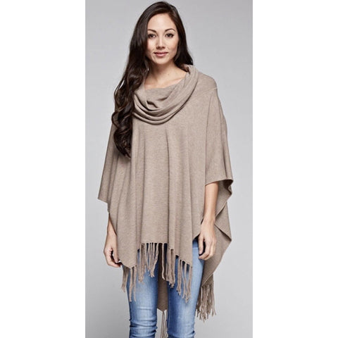 Amelia Heather Brown Fringe Poncho Lovestitch