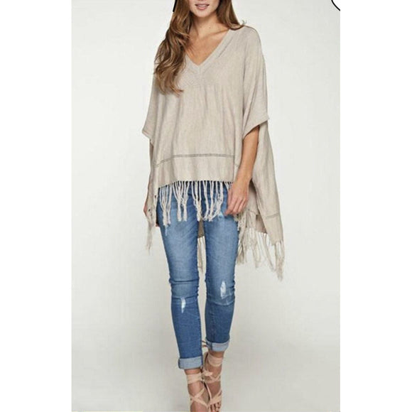 Amelia Fringe V-Neck Poncho Lovestitch