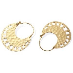 Brea Boho Gold Hammered Loop Thru Earrings