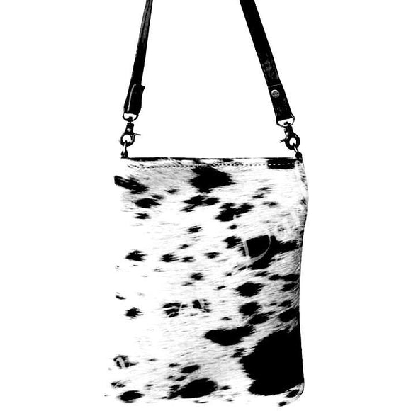 Lara Cowhide Black White with or without  Silver Detail Crossbody Handbag