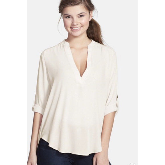 Aspen Ivory Lush Deep V Button Sleeve Top