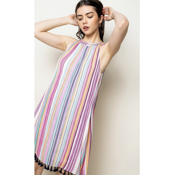 Abello THML Striped Halter Dress JH1049