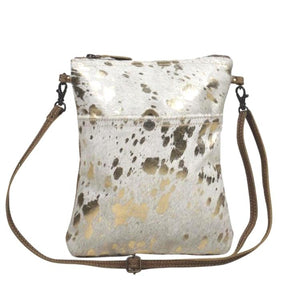 Lara Gold Foil Cowhide Crossbody Handbag