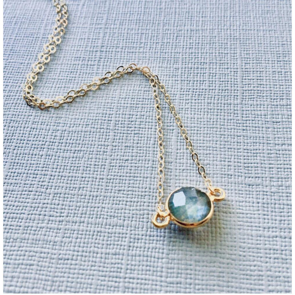 Grace Small Labradorite or Moonstone Bezel Pendant