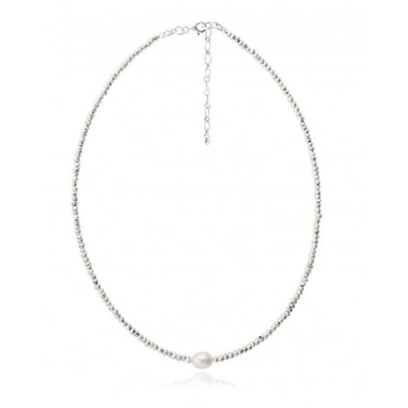 Lauren Pearl Silver Beaded Choker Necklace