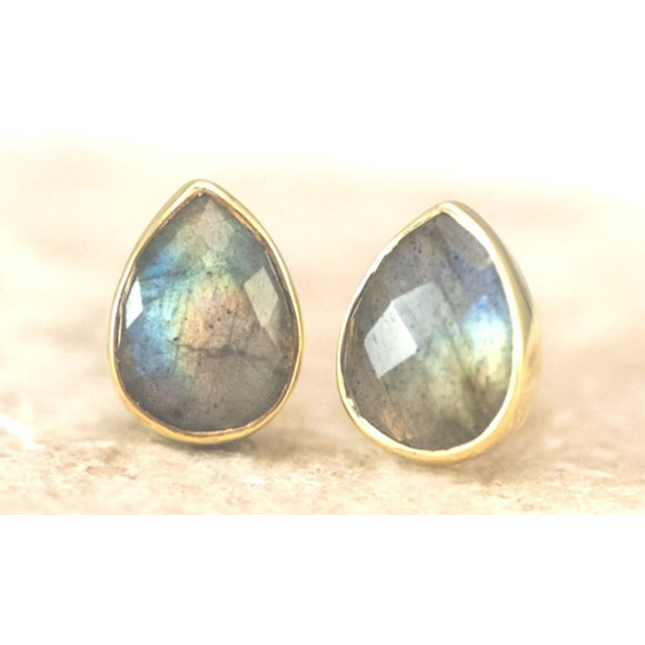 Abare Pear Labradorite Stud Earrings