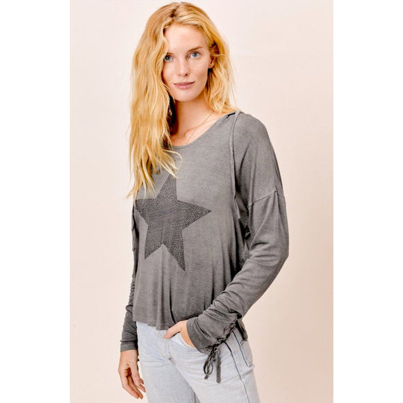 Alex Beach Grey Vintage Wash Hoodie Lovestitch Top