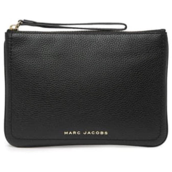 Marc Jacobs Black Leather Wristlet Clutch Handbag