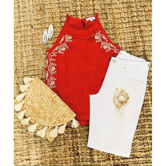 Amie THML Sleeveless Red Embroidered Top