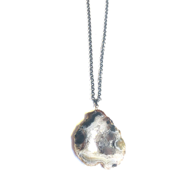 Annalisa Sliced Geode Oxidized Silver Chain Necklace