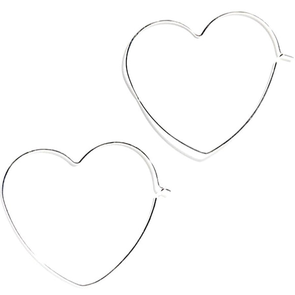 Allie Silver Heart Loop Thru Hoop Earrings