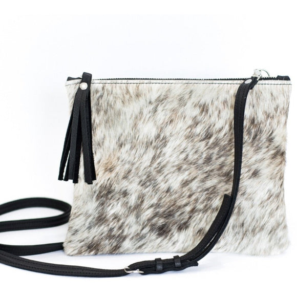 Brio B Grey Brown Cowhide Tassel Crossbody Handbag