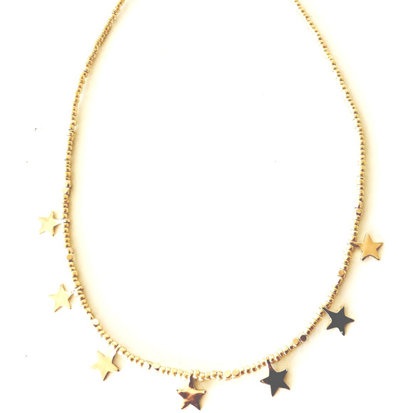Lauren Star Choker Gold Beaded Necklace-Fig Tree Jewelry & Accessories