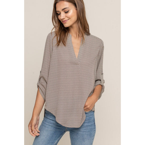 Aspen Lush Split Neck Crepe Top t7131b-i
