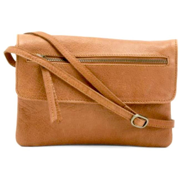 Hazel Medium Brown Leather Crossbody Handbag