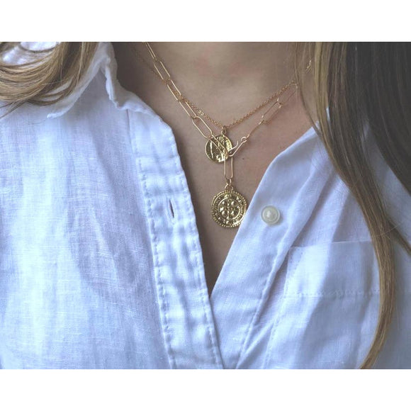 Zara Gold Coin Chain Necklace-Fig Tree Jewelry & Accessories