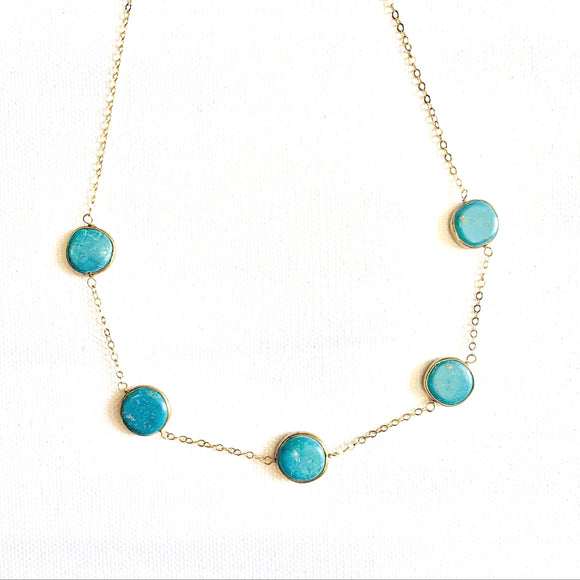 Turquoise Gold Choker Extendable Necklace
