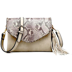 Fabiola Python Light Sand Whipstitch Crossbody/Clutch