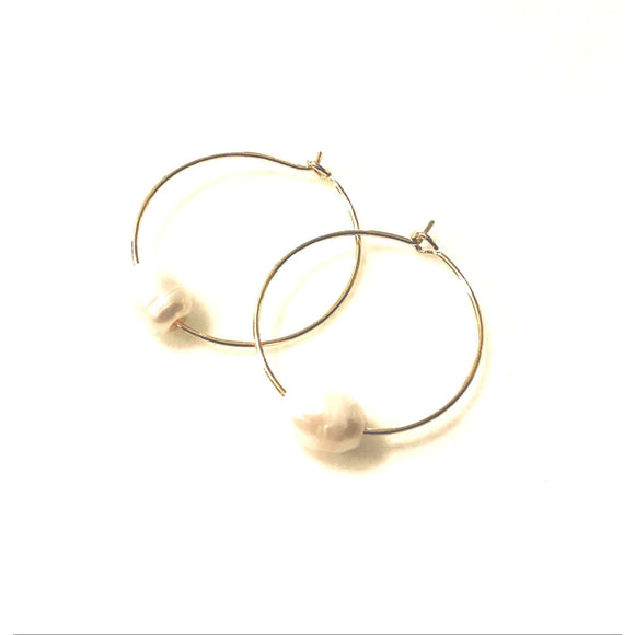 Addie Small Hoop Organic Pearl Beaded Earrings