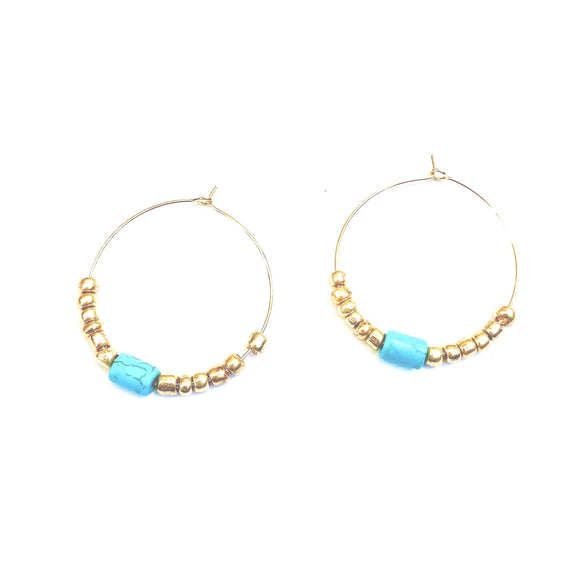 Addie Single Long Turquoise Gold Hoop Beaded Earrings