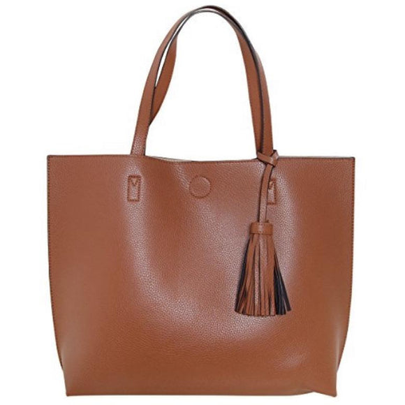 Chloe Brown Tassel Tote with Crossbody Inside Handbag