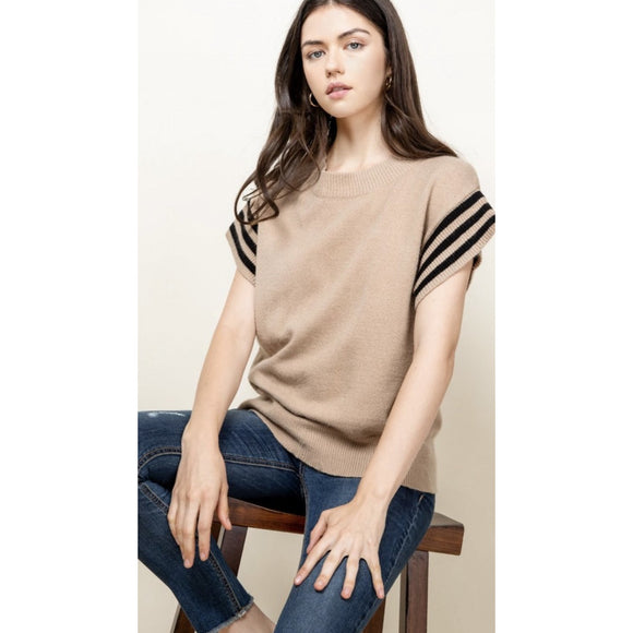 Diana THML Camel Short Sleeve Rib Knit Top