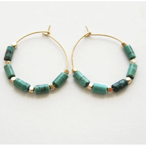 Addie Hoop Turq Gold Beaded Earrings