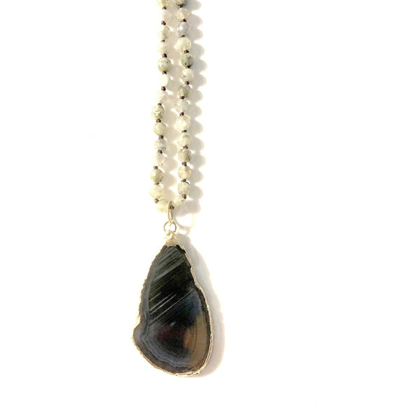 Blake Blue Agate Sliced Necklace