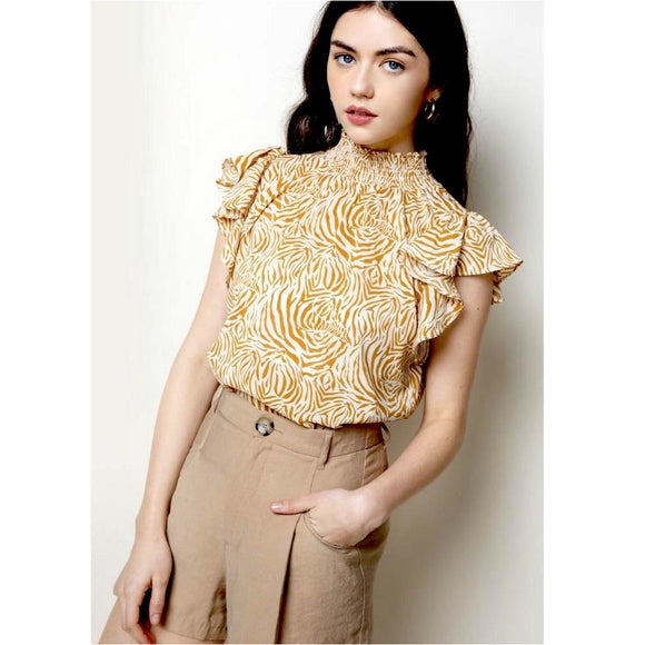 Abby Printed Yellow Flutter Sleeve THML Top