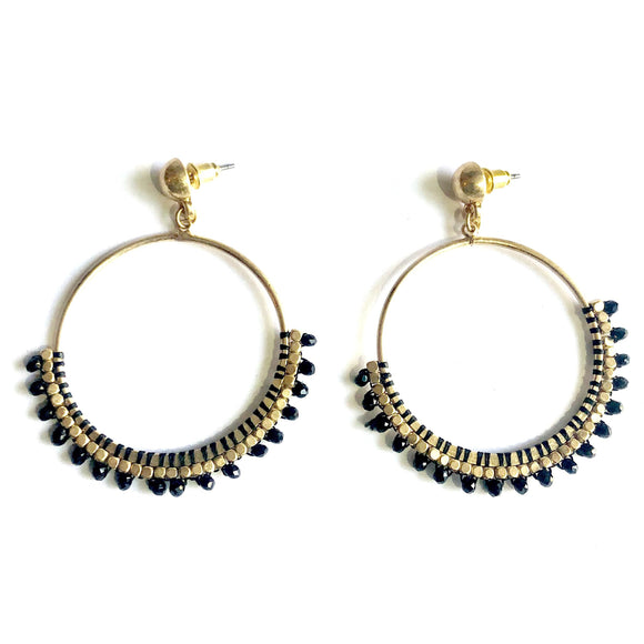 Alisa Round Black Crystal Beaded Earrings