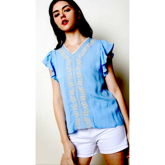 Gracie THML Light Blue Embroidered Ruffle Sleeve Top