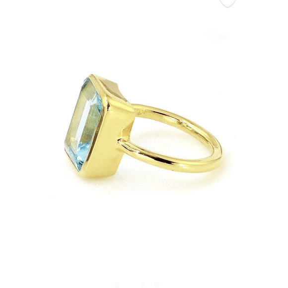 Amia Square Blue Topaz Ring