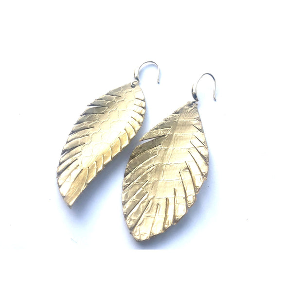 Alyssa Gold Python Embossed Feather Earrings
