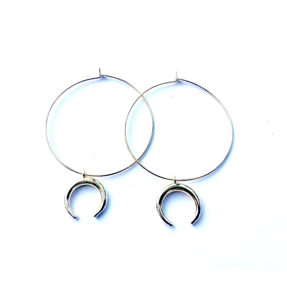 Amie Horn Drop Hoop Earrings-Fig Tree Jewelry & Accessories