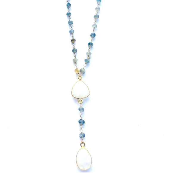 Acea Moonstone Labradorite Beaded Y Necklace