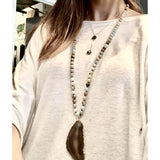 Abby Agate Amazonite Beaded Long Necklace