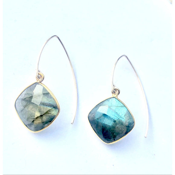 Turin Labradorite Bezel Earrings