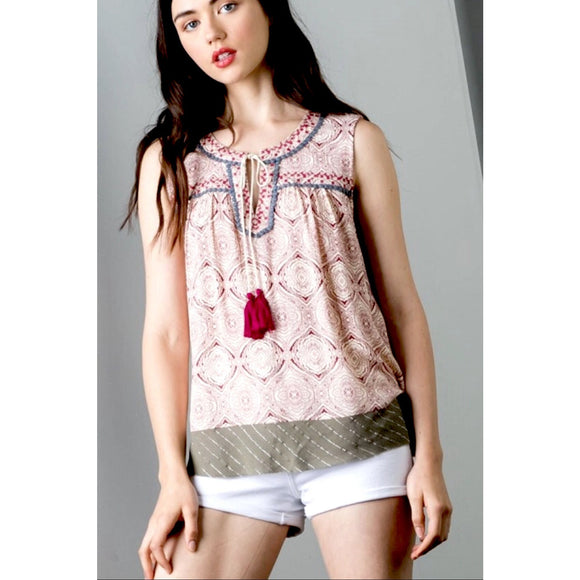 Alice Boho Printed Top THS0351-Fig Tree Jewelry & Accessories
