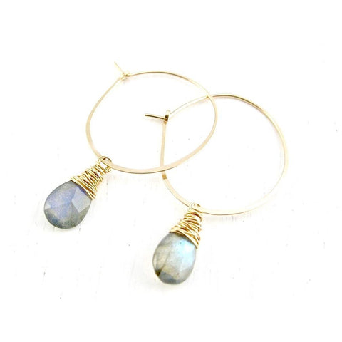 Ashley Grey Labradorite or Lemon Quartz Hoop Earrings