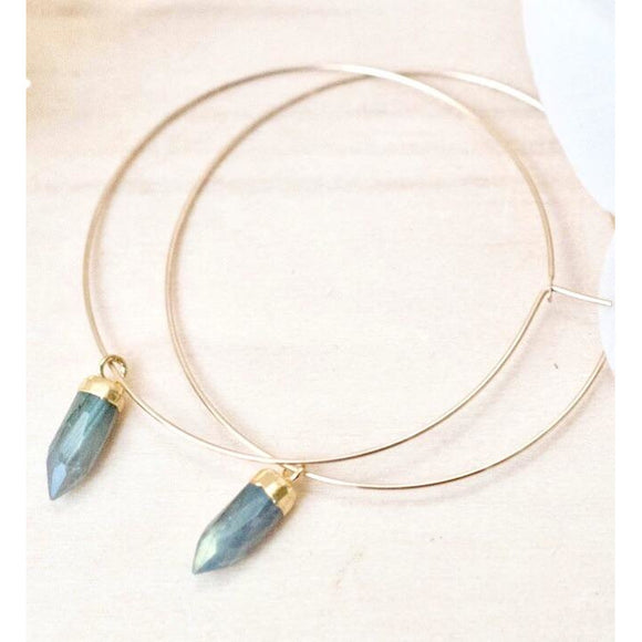 Amie Labradorite Drop Hoop Earrings