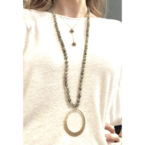 Abley Hammered Circle Beaded Necklace